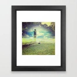 tower at the grass pond Framed Art Print