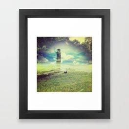 tower at the grass pond Framed Art Print