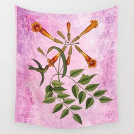 Hummingbird with Trumpet Vine, Vintage Natural History Collage Wall Tapestry