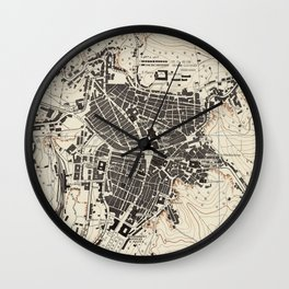 Vintage Map of Caltanissetta Italy (1943) Wall Clock