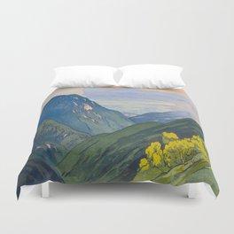 Otenjo Mountaine Alps Vintage Beautiful Japanese Woodblock Print Hiroshi Yoshida Duvet Cover