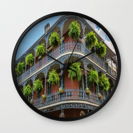 Southern Style - Hanging Ferns in French Quarter New Orleans Wall Clock