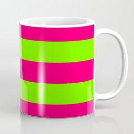 Bright Neon Green and Pink Horizontal Cabana Tent Stripes Coffee Mug