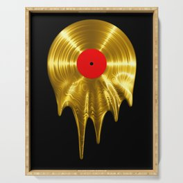 Melting vinyl GOLD / 3D render of gold vinyl record melting Serving Tray