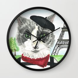 French Cat Mime in Paris Wall Clock