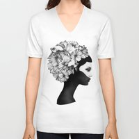 fashion illustration V-neck T-shirts featuring Marianna by Ruben Ireland
