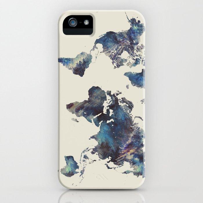 world map 124 blue  #worldmap #map iPhone Case