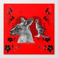 kangaroo Canvas Prints featuring Kangaroo by SwanniePhotoArt