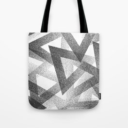 Black & White Stippled Geometric Pattern Tote Bag