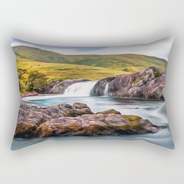 Ashleigh Falls, Ireland. (Painting.) Rectangular Pillow