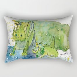 Hippo Mommy w/ Baby Hippo Rectangular Pillow