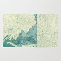maryland Area & Throw Rugs featuring Maryland State Map Blue Vintage by City Art Posters