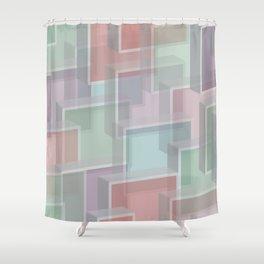 Lucite Blocks Pastel pink, green, blue, purple Shower Curtain