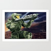 master chief Art Prints featuring Master Chief by PrintsofErebor