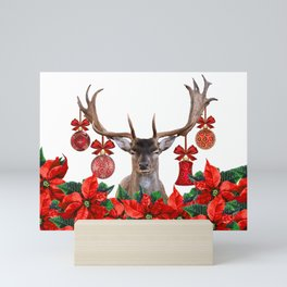 Moose Reindeer Poinsettia Christmas Flowers - white Mini Art Print