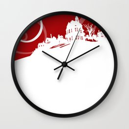 White Snowy House on Red Background Wall Clock
