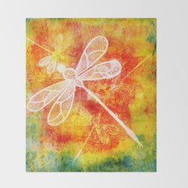Dragonfly in embroidered beauty Throw Blanket