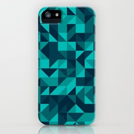 The bottom of the ocean - Random triangle pattern in shades of blue and turquoise  iPhone Case