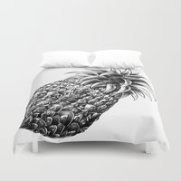ornate elephant Duvet Covers featuring Ornate Pineapple by BIOWORKZ