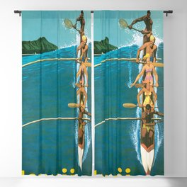Hawaii, Diamond Head Oʻahu Outrigger United Airlines Vintage Travel Poster Blackout Curtain