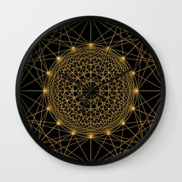 Geometric Circle Black and Gold Wall Clock