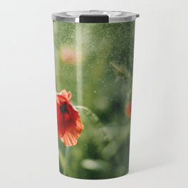 Red Poppy on Green background with bokeh Travel Mug