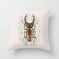 insect Throw Pillows featuring INSECT IV by dogooder