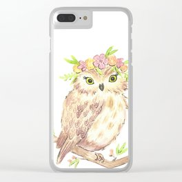 Owl floral watercolor Clear iPhone Case