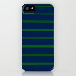 Slate Blue and Emerald Green Stripes iPhone Case