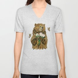 Bear with flowers and butterflies Unisex V-Neck