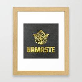 Namaste Golden on chalkboard Framed Art Print