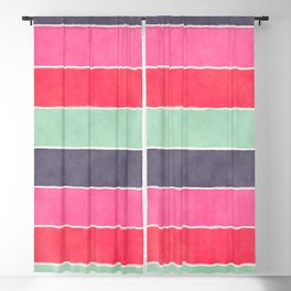 Geometric modern pink coral mint gray watercolor pattern Blackout Curtain