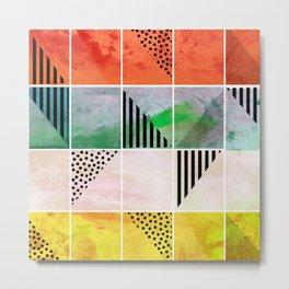 Mosaic Abstract coral Metal Print