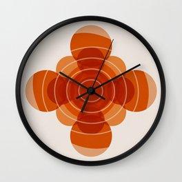 Earthy Red Scandinavian Floral Design Wall Clock