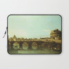 Bernardo Bellotto - View of the Tiber in Rome with the Castel Sant'Angelo Laptop Sleeve