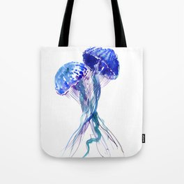 Jellyfish, Aqua Blue Marine Beach Art Tote Bag