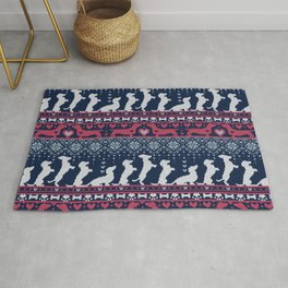 Fair Isle Knitting Doxie Love // navy blue background white and red dachshunds dogs bones paws and hearts Rug