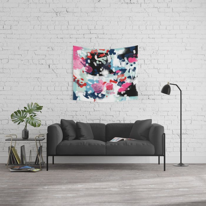 Aubrey - Abstract painting in bright colors pink navy white gold Wall Tapestry
