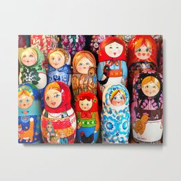 Culture. Group of matrioska, or babushka, symbol of maternity from Russia. Metal Print