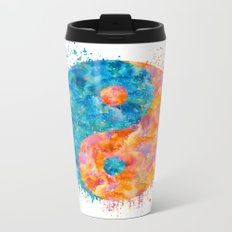 yin and Yang Symbol Watercolor painting Metal Travel Mug