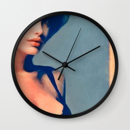 Portrait Of Young Woman With Large Eyes Wall Clock
