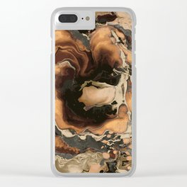 Old Brown Marble texture acrylic Liquid paint art Clear iPhone Case