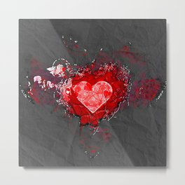 Abstract Love Letter red Grey Crumpled Paper Metal Print