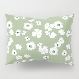 Modern floral on dusty green ground Pillow Sham