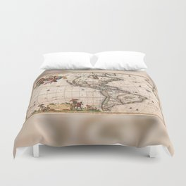 1658 Visscher Map of North & South America with enhancements Duvet Cover