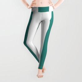 Celadon green - solid color - white vertical lines pattern Leggings