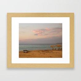 Sunset at the Beach in Greece Framed Art Print