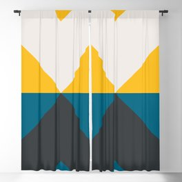 Split X Teal & Yellow Blackout Curtain