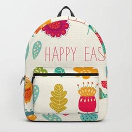 Ivory teal orange floral birds Happy Easter typography Backpack