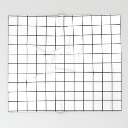 Grid Simple Line White Minimalist Throw Blanket